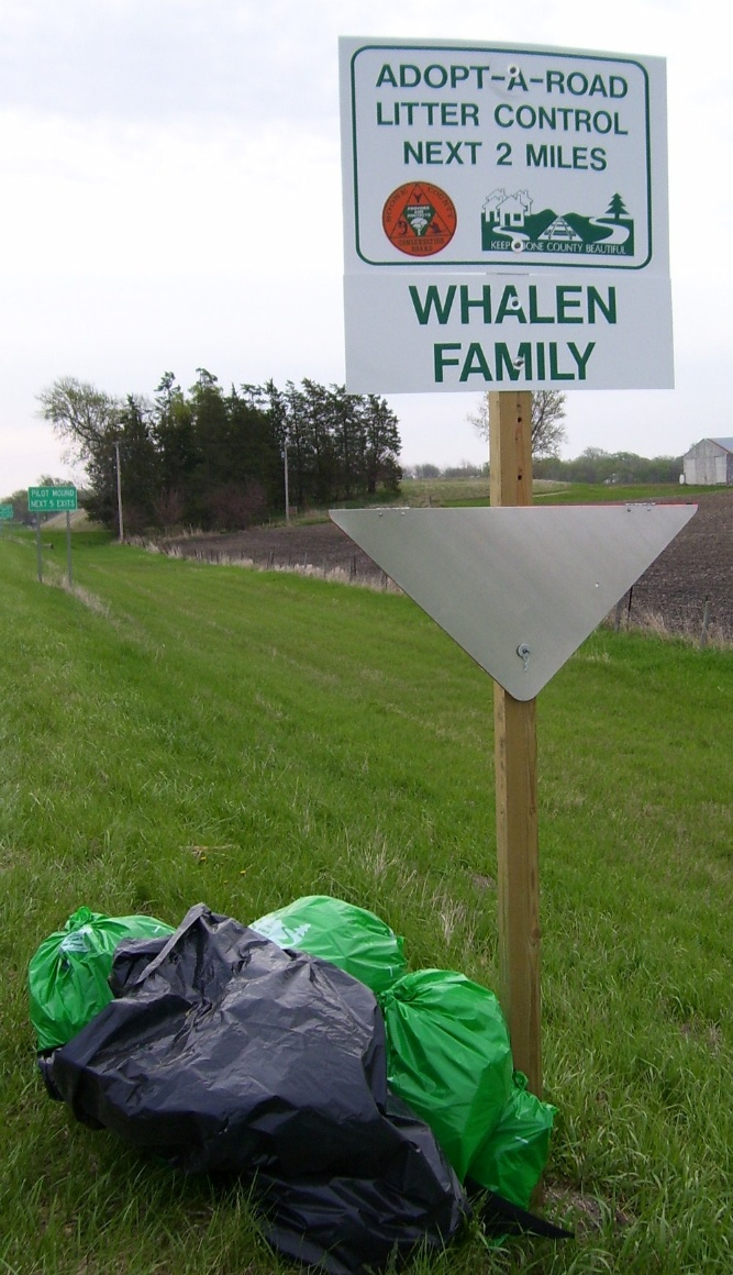 Adopt a road whalen road sign