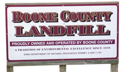 Boone County Landfill Sign